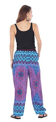 CandyHusky - Pantalón - para mujer Peacock Mandala Blue