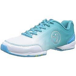 Zumba Women's Flex Classic Dance Shoe, White/Blue Curacao, 11 M US