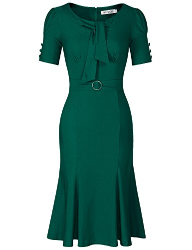 (MUXXN Womens Cut Out Neck Spring Garden Party Picnic Rockabilly Dress (Dark Green L))