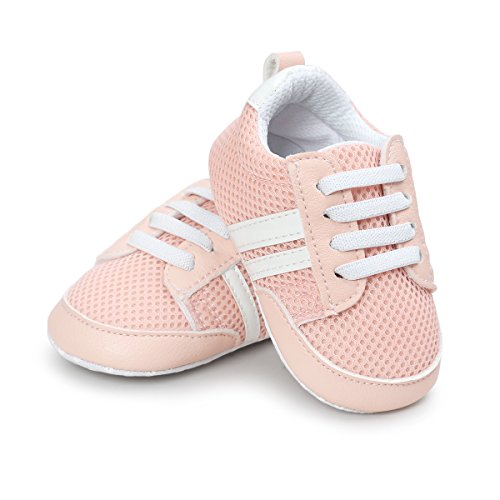 RVROVIC Baby Boys Girls Shoes Breathable Soft Sole Slip-on Sneakers Infant First Walkers (L:12-18 months, Pink-2)