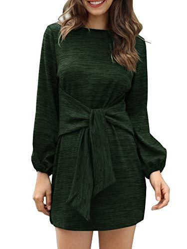 7cc202ba37 Klousilover Womens Crewneck Casual Dress Tie Front Long Sleeve T Shirt Mini  Dresses