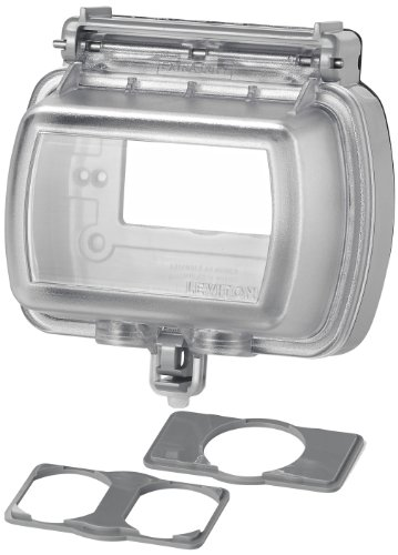 Leviton 5981-UCL 5981 While-in-Use Cover for GFCI/Decora Duplex and Single Outlet, Horizontal, Clear
