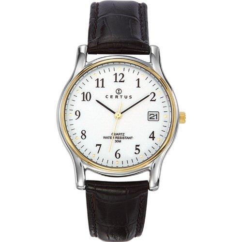 Certus 611273 - Reloj analógico de Cuarzo para Hombre con Correa de Piel, Color Negro