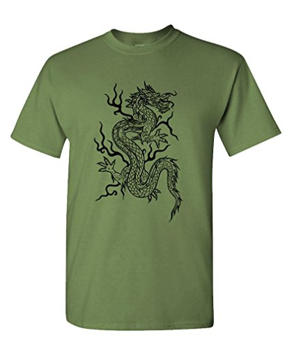(Wushu Dragon - Martial Arts MMA kung fu China Tee Shirt T-Shirt, XL, Army)