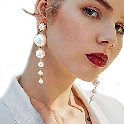 Long Pearl Dangle Earrings, Big Pearl Earrings-Great for Brides or Bridesmaids