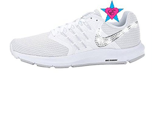 Women Rhinestone Crystal White Nike Run Swift