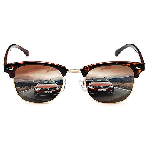 Rocknight Polarized Browline Sunglasses Classic Half Frames Horned Rivet Semi-Rimless Retro 400UV Protection - Sunglasses Browline Women