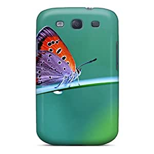 Galaxy S3 Ftx563CCYu Beautiful Purple Orange Butterfly Tpu Silicone Gel Case Cover. Fits Galaxy S3