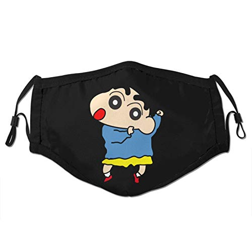 Crayon Shin-Chan Man's Women's Dust Masks Outdoor Adjustable Earrings Face Mask Reusable with More Filter Black
