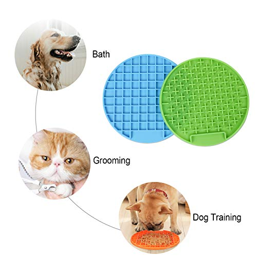 WHIPPY Dog Lick Pad Slow Feeder Mat Bathing Grooming Distraction Anxiety Relief Device Peanut Butter Licking Pads 2 Pack Blue + Green