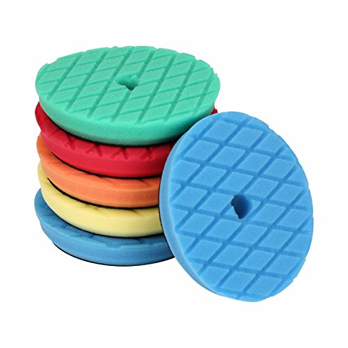 SPTA 6Inch (150mm)5 Pad Mix Color Heavy Cut,Light Cut And Finish Polishing Pad Polishing Pad Set For Rupes DA/RO Car Polisher Pack Of 5Pcs-Professional Quality