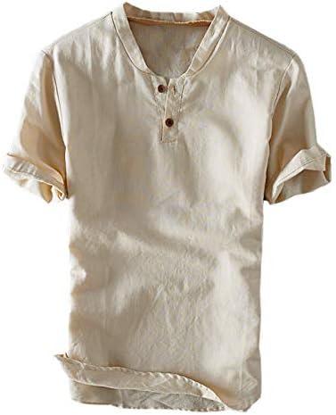 TENGGO Hombres Casual 100% Algodón Vintage V-Neck Button ...