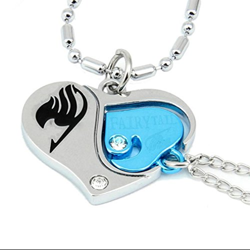 Cos Me Fairy Tail Cosplay Lovers Heart Necklace Pendant Accessories