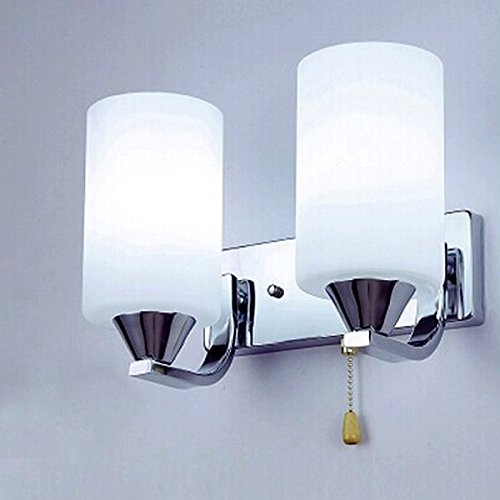 Cmyk Bd02 2-light Wall Bracket with White Finished Glass and Pull Cord Switch E27 , Chrome Finished