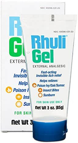 Rhuli Gel (ORIGINAL FORMULA) FAST ACTING INVISIBLE ITCH RELIEF GEL: Helps relieve: Poison Ivy/Oaks, Insect Bites, and more. 3 Oz TUBE