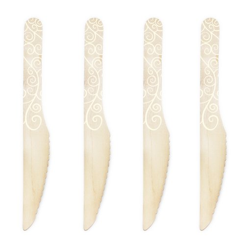 Dress My Cupcake 6.5-Inch Natural Wood Dessert Table Knives, Ivory Filigree, Pack of 50