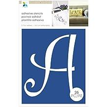 Momenta Funky Font Adhesive Cardstock Alphabet Stencils, Blue