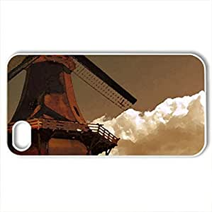 Beautiful view of the windmill - Case Cover for iPhone 4 and 4s (Watercolor style, White)