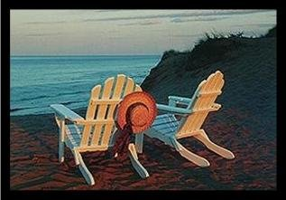 buyartforless IF MD001 17x12 1.25 Black Plexi Framed Paradise by Marcia Joy Duggan 17X12 Photograph Art Print Poster Cape Cod Coastal Beach Ocean Adirondack Chairs Straw Hat Dunes (Cape Cod Beach Chair)