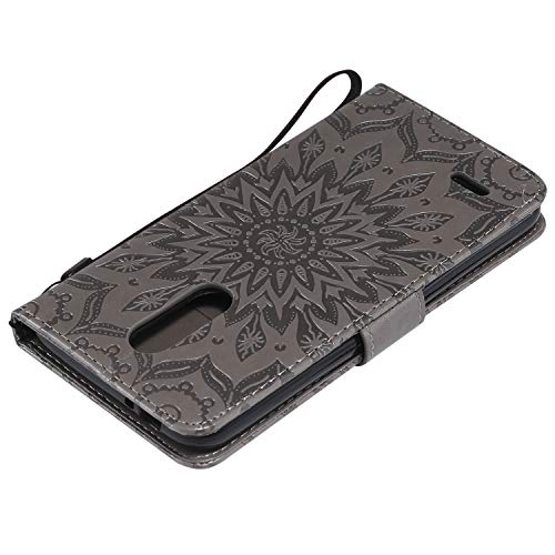 Arbre Fleur Housse Style Portefeuille Case d'impression Slots Support K10 Rose Version Cuir Gris Chat European à Soleil Carte de Rabat LG Or Etui BONROY Cover 2018 Etui de et 4ZvBUT