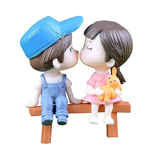 MINH QUAN Collectible Figurines 1Pair Sweety Lovers Couple On Chair Figurines Miniature Craft Fairy Garden Gnome Moss Terrarium Gift DIY Ornament Garden Decor - Hagen renaker Cats