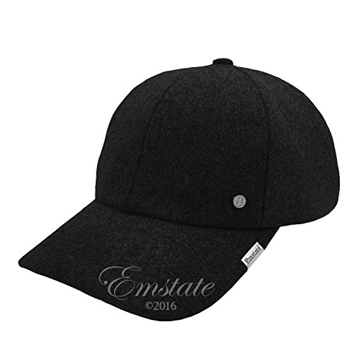 (Emstate Melton Wool Baseball Cap Buckle Back Made in USA (3 Colors) (Black))
