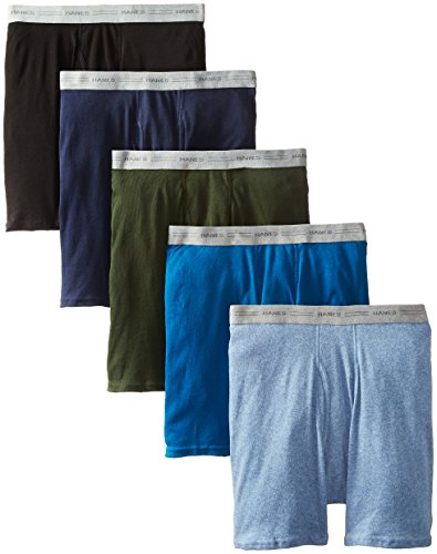 Hanes Men's 5-Pack Exposed Waistband Boxer Briefs, Assorted,