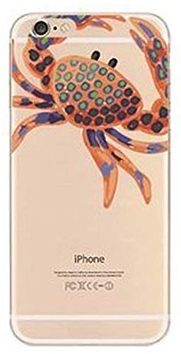 iPhone 8 Plus / 7 Plus Compatible, Colorful Rubber Flexible Silicone Case Bumper Clear Cover Case - Orange crab