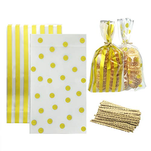 100 Pack Gold Polka Dot and Gold Striped Candy Bags 9.84 x 6 x 2.36 inch Clear Plastic Treat Bags for Cookie Candy Snack Wrapping Party Favor -
