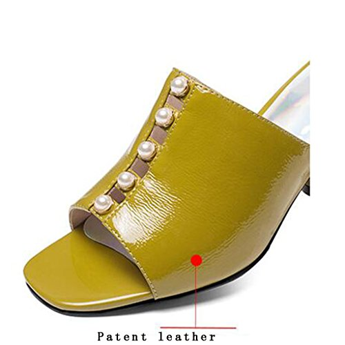Sandales Chaussures Pantoufles Bout Été Rugueux Mode À Talons Lemon Femme Strass Ouvert Chaussures Yellow Chaussures À Talons Décontractées PqwrPS