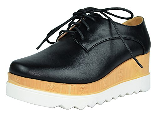 Chase & Chloe Women's Wingtip Lace-Up Wood Platform Wedge Oxford Shoe (10 B(M) US, Black PU) (Chloe Black Shoes)