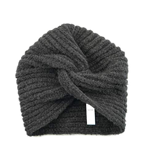 accsa Women Vintage Fashion 10% Wool Dark Gray Cable Knit Turban Beanie Chemo Hat