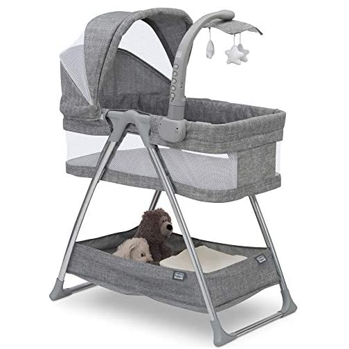 Simmons Kids City Sleeper Bedside Bassinet Portable Crib – Activity Mobile Arm with Nightlight, Vibrations, Twinkle Lights and Rotating Stars, Grey Tweed