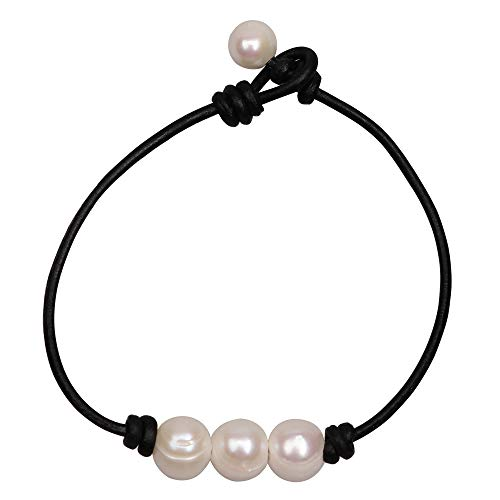 Three Pearl Bracelet for Women Cultured Freshwater Pearls Leather Jewelry Handmade Knot Bangles Black 7 inch (Pearl Freshwater Bangle Cultured)