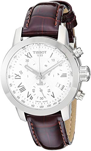 Tissot Women's 'PRC 200' Swiss Quartz Stainless Steel and Leather Dress Watch, Color:Brown (Model: T0552171603301)
