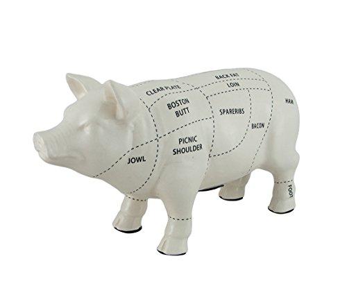- Zeckos Large White Ceramic Butcher Chart Hog Piggy Bank 13 Inches Long