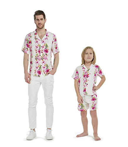 Pink Santa Outfit - Matching Father Son Hawaiian Luau Outfit