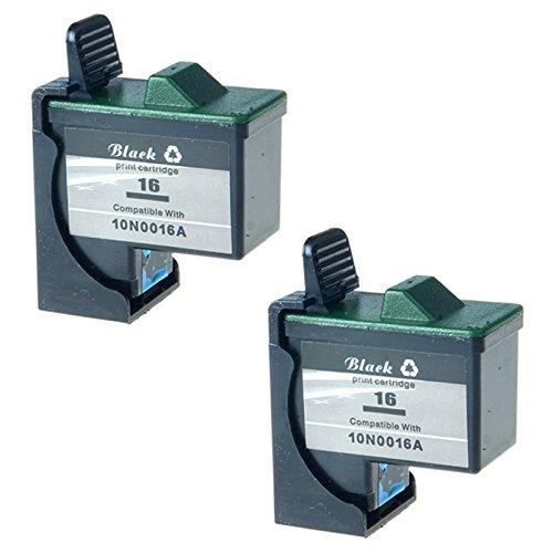 KCMYTONER Remanufactured for 10N0016#16 Black Ink Cartridge Z13 Z23 Z25 Z33 Z35 Z515 Z605 Z611 Z616 Z645 Z75 X1150 X1185 X1270 Ink Combo 2 Pack