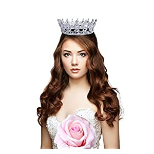 FiLL&Joy Party Wedding Birthday Queen Princess Gift Crystal Handcrafted Tiara Crown 71
