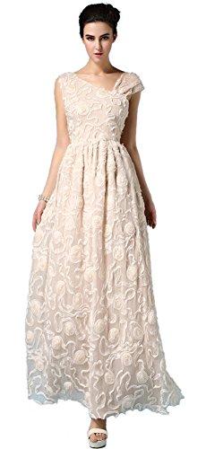 CozyRoom Women's Summer Sleeveless Floral Silk Long Maxi Prom Gown Dress