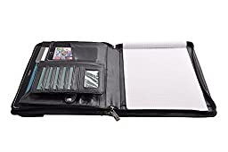 Deluxe Executive Padfolio with Envelope-Styled Exterior Pocket, to Fit Letter / A4 Paper, Black