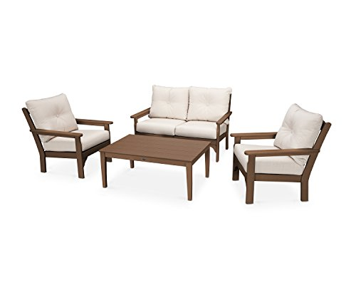 POLYWOOD Vineyard 4-Piece Deep Seating Set (Teak/Antique Beige) (Polywood Lounge Set)