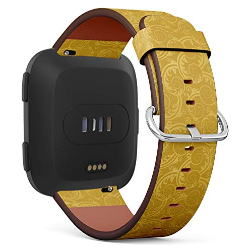 Compatible with Fitbit Versa, Leather Wristband Bracelet with Quick-Release Spring Pins -Golden Swirls Leaves