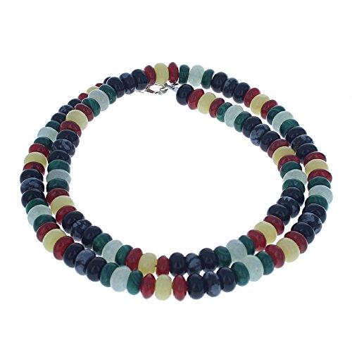 Serpentine, Aventurine, Carnelian, Malachite, Obsidian & Black Onyx Mens Beaded Necklace - (Malachite Onyx Necklace)