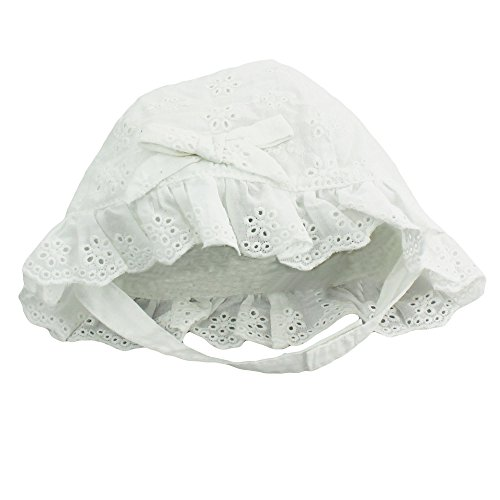 Little Me Baby Girls White Eyelet Sun Hat with Chin Strap- White - 3-9 -