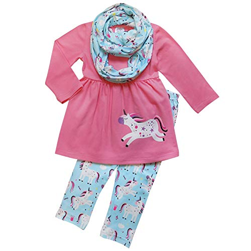 So Sydney Toddler Girls 1, 2 3 Pc Unicorn Print Tunic Top, Leggins, Infinity Scarf Tutu Outfit (S (3T), Unicorn Magic Rose)]()