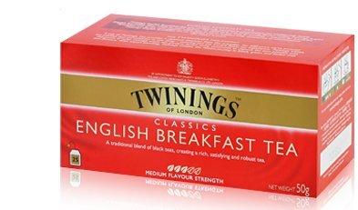 (Twinings English Breakfast 25 Sachets/box Medium Flavour)