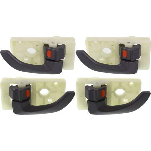 Interior Door Handle Compatible with HYUNDAI TUCSON 2005-2009 Set of 4 Front and Rear Right Side and Left Side Gray Plastic