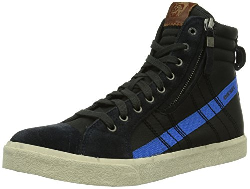 Diesel Heren D-velows D-string In Nylon Fashion Sneaker Antraciet / Maritiem Blauw