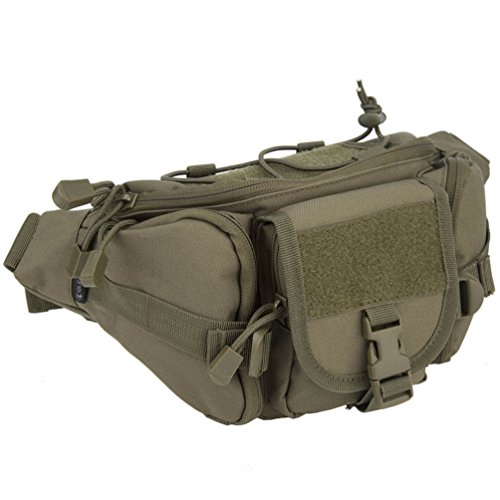 Waist Fanny Pack Belt Bag Camping Hiking Phone Pouch Khaki - 7